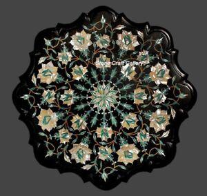 "18"" Marble Corner Table Top Semi precious stones Inaly art Handmade work"