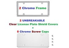 2 UNBREAKABLE Clear License Plate Shield Covers + 2 Chrome Frame for Vehicles