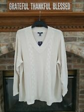 Chaps by Ralph Lauren Women's Sz. 3X Cream Cable Knit V-Neck Sweater NWT