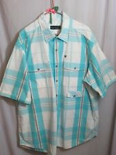 NWOT RocaWear Cargo Shirt Top Snaps Turquoise White Plaid 3 Pocket  2X Large