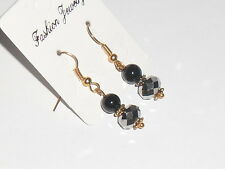 SILVER BLACK ONYX BEADED DROP DANGLE EAR-RINGS GOLD PLATED GREAT GIFT!