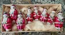 8 PIECE Antique Santa Claus Clip On Mercury Glass Christmas Tree Ornament