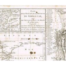 GIBRALTAR PLAN de la VILLE et de la MONTAGNE Détroit Espagne Portugal 18è Siècle