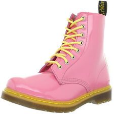 Dr Martens Pink Yellow Pascal 8 Eyelet Patent Leather Festival Boots UK 9 / EU43