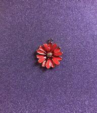 1 Large Orange Red Enamel Daisy Flower Charm