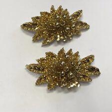 WONDERFUL VINTAGE ESTATE FIND FAUX GOLD FLOWER BURST SEQUIN CLIP ON EARRINGS A17