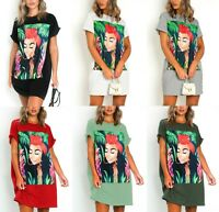 Womens Ladies Graphic Face Jungle Mamma Oversized Baggy T-Shirt Dress Blouse Top