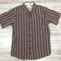 Men's VANS Brown Plaid 100% Cotton Short Sleeve Button Down Shirt Size Medium