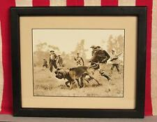 Vintage 1950s Hunting Party with Sporting Dogs Photograph Print in Frame Nice!