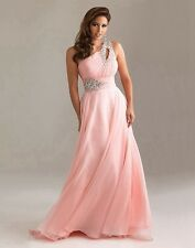 One shoulder Bridesmaid Dress Formal Evening Ball Gown Party Prom Size 6++++++18