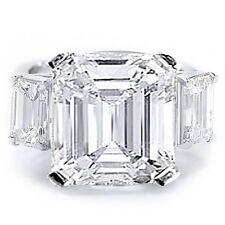 5.00 ct. Three Stone Emerald Cut Diamond Engagement Ring GIA Platinum H, VS1