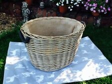 MEDIUM ANTIQUE WASH WICKER OVAL LOG BASKET HESSIAN LINED & ROPE HANDLES GORGEOUS