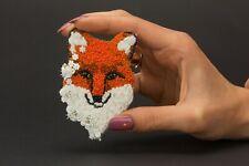 Fox Brooch Red Fox Pin Animal Embroidery Brooch Fox Beaded Jewelry