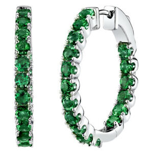 Sterling Silver Simulated Emerald Inside-Out Hoop Earrings