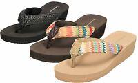 Dunlop Black Beige Brown Wedge Heel Sandals Flip Flops Mule Espadrilles Toe Post