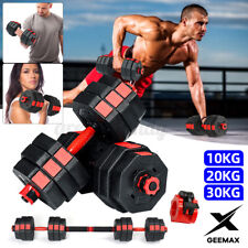 GEEMAX Adjustable Dumbbell Set Weight Barbell Plates GYM Home Workout 22/44/66LB