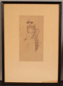 19thC Antique James Abbott McNeill Whistler GANTS DE SUEDE Lithograph Print NR