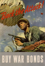 Back the Attack! Buy War Bonds WWII War Propaganda Art Print Poster - 13x19