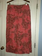 Ladies L Villager Pink Paisley Skirt Linen Blend Long Back Elastic Drwstng NWT