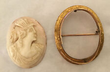 Truly Antique Signed Cameo Brooch. Gold Casing Split 1 Spot. Hand Carved.