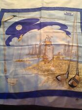 "NWOT Andre Claude Canova 34"" Square Silk Scarf with Golfing Theme"