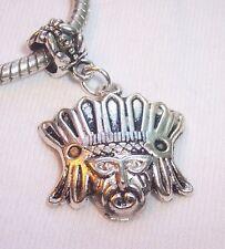 Native Chief Headdress Mayan Dangle Bead fits Silver European Charm Bracelets