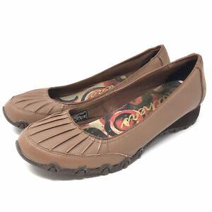 Skechers Womens Slip On Shoes Size 9 Brown Wedge Comfort Walking