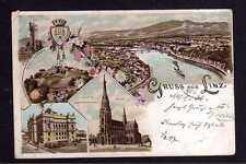 113297 AK Linz Oberösterreich Litho Franz Josef Warte Muskum Dom 1897