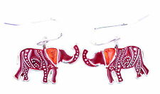 Vintage style silver and red elephant dangle earrings
