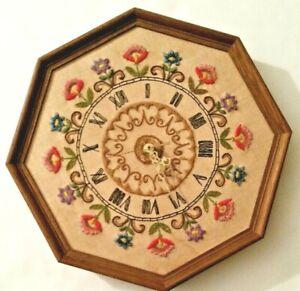 Crewel clock face in wooden octagonal frame w/working wall clock, needs Cbattery