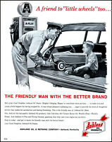 1962 Ashland Oil Dealer young boy toy car attendant vintage art print ad L28