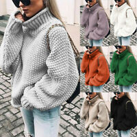 Womens Turtle Neck Knitted Sweater Oversized Winter Baggy Jumper Tops Plus Size