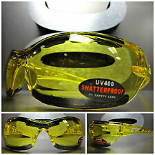 MOTORCYCLE BIKER SPORT RIDING Day - Night Yellow Lens PADDED SUN GLASSES GOGGLES