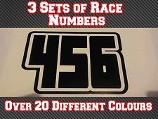 """Carrera números 3 conjuntos de 10"""" 254 mm Custom Pegatinas de vinilo Calcomanías MX Motocross Bici N22"""