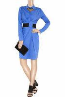 VIONNET Blue Cotton Pleated Gathered Black Belted Colorblock Shirt Dress 38