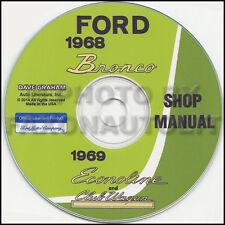 CD 1968 Ford Bronco and 1969 Econoline Shop Manual Repair Service E100-E300 Van