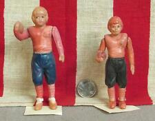 "Vintage Pair 1940s Celluloid Toy Football Player Figures 5"" Tall Made in Japan"
