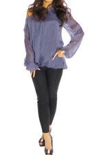 Camisas y tops de mujer de color principal azul 100% seda