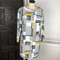 Armani Exchange Dress Xs White Black Yellow Blue Shift Long Sleeve