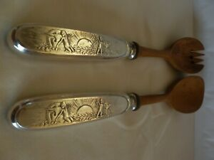 FRAGET PLAQUE WARSAW WARSZAWA POLAND SILVERPLATED & WOOD SERVING FORK AND SPOON