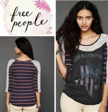 Medium Womans Free people Texas blue bonnets lace And Stripes Tee Top