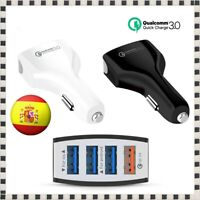 Cargador de Coche Carga rápida 3.0 QC Qualcomm Mechero 4 Puertos USB Móvil