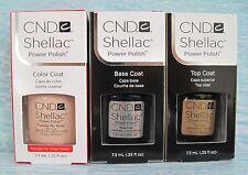 CND Shellac Gel Power Polish 3pc Set: POWDER MY NOSE, BASE & TOP COAT .25 oz NIB
