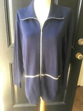New Chico's Zenergy Cotton Cashmere Navy Blue Beaded Trim Jacket 2 = L 12 14 NWT