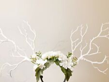 White Branch Horn Demon Nymph Horn Headdress Antlers Hydrangea White Rose Flower