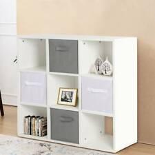 9 Cube Wooden Bookcase Shelving Unit Display Storage Shelf w/ Grey Canvas Basket