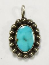 Unsigned - ZUNI - Sterling Silver Sleeping Beauty Turquoise Pendant - VINTAGE