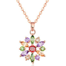 Rainbow Gorgeous Pink Topaz Peridot Morganite Rose Gold Plated Necklace Pendants
