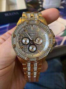Bulova mens crystal gold Watch