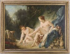 More details for diana resting antique oil painting after françois boucher (french, 1703-1770)